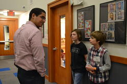 students meet with prospective parents